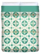 Green Lucky Charm Lisbon Tiles Duvet Cover