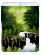 Green Mist Fantasy Falls Dreamy Mirage Duvet Cover