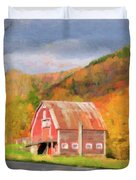 Green Mountains Barn Duvet Cover