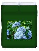Green Nature Landscape Art Prints Blue Hydrangeas Flowers Duvet Cover