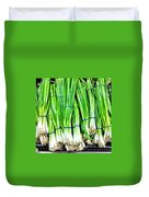 Green Onions Duvet Cover