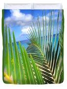Green Palm Leaves Duvet Cover