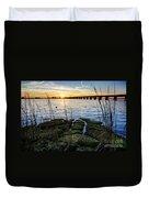 Green Rock Sunset Duvet Cover
