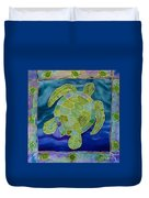 Green Sea Turtle Silk Painting Duvet Cover