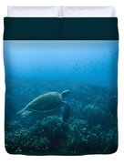 Green Sea Turtle Swimming Over Coral Duvet Cover