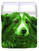 Green Shetland Sheepdog Dog Art 9973 - Wb Duvet Cover