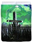 Green Sky Cross Duvet Cover