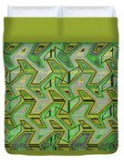 Green Steps Abstract Duvet Cover