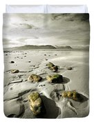 Green Stones On A North Wales Beach Duvet Cover