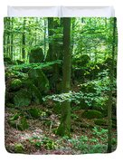 Green Stony Forest In Vogelsberg Duvet Cover
