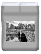 Green Street Bridge In Black And White Duvet Cover by Wayne Marshall Chase