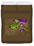 Green Tree Frog And Flowers Duvet Cover