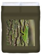 Green Tree Frog Thinking Duvet Cover