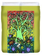 Green Tree With Purple Tulips Duvet Cover