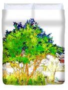 Green Trees By The Lake Duvet Cover