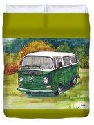 Green Vw Bus Duvet Cover