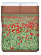 Green Wheat And Red Poppy Flowers Field Duvet Cover