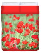 Green Wheat And Red Poppy Flowers Duvet Cover