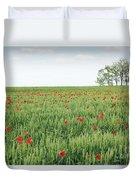 Green Wheat Field Spring Scene Duvet Cover