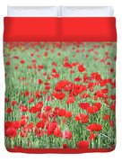 Green Wheat With Poppy Flowers Duvet Cover