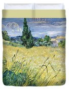 Green Wheatfield With Cypress Duvet Cover