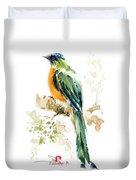 Green Wild Bird Duvet Cover