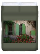 Green Windows And Red Geranium Flowers Duvet Cover by Yair Karelic