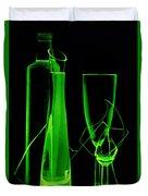 Green Wine Glasses And A Bottle Duvet Cover