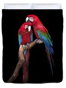 Green Winged Macaw Portrait Duvet Cover