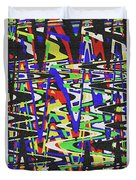 Green Yellow Blue Red Black And White Abstract Duvet Cover