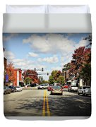 Greensboro Georgia Corner Of Main Street And Broad Street Fall Leaves Greensboro Georgia Art Duvet Cover