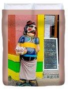 Greeter At Pizzeria In La Boca Area Of Buenos Aires-argentina- Duvet Cover