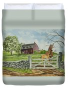 Greeting At The Gate Duvet Cover