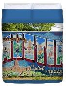 Greetings From Austin Capital Of Texas Postcard Mural Duvet Cover