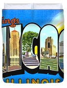 Greetings From Chicago Illinois Duvet Cover