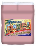 Greetings From Florida, The Land Of Sunshine Duvet Cover