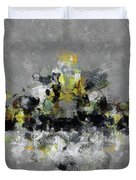 Grey And Yellow Abstract Cityscape Art Duvet Cover