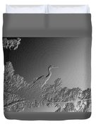 Grey Heron At Morning In Bas Relief Duvet Cover