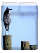 Grey Heron On A Pole Duvet Cover
