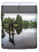 Grey Heron On Lake Kinrin Duvet Cover