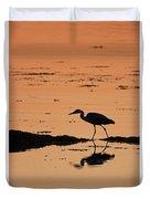 Grey Heron Sunset Duvet Cover