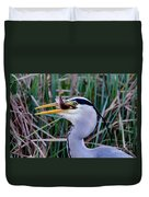 Grey Heron With Fish Duvet Cover