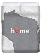 State Map Outline Wisconsin With Heart In Home Duvet Cover