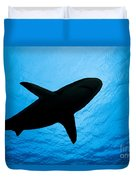 Grey Reef Shark Silhouette Duvet Cover
