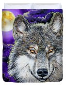 Grey Wolf And Full Moon Duvet Cover