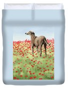 Greyhound In Poppies Duvet Cover