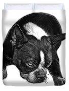 Greyscale Boston Terrier Art - 8384 - Wb Duvet Cover