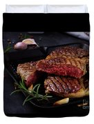 Grilled Beef Steak Duvet Cover