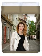 Grinning Attractive Woman Standing On Cobblestone Street Of Uppe Duvet Cover