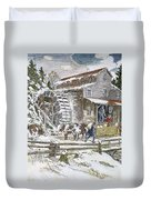 Grist Mill, 19th Century Duvet Cover